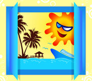 Summer window. A illustration of summer holiday graphic Stock Photography