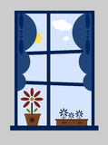 Summer window. Window decorated with blue curtains, flowers on the window-sill, looking out on a blue sky with sun and fluffy white clouds vector illustration