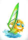Summer Windsurfing. Funny sun on surfboard vector icon Royalty Free Stock Images