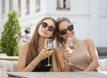 Summer wine fun. Portrait of two young brunettes having summer wine fun Stock Images