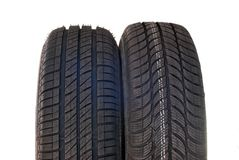 Summer and winter car tires Royalty Free Stock Photo