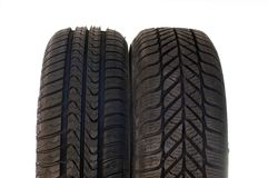 Summer and winter car tires Royalty Free Stock Image