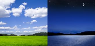 Summer winter change in Landscape royalty free stock photos
