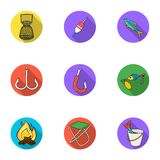 Summer and winter fishing, outdoor recreation, fishing, fish.Fishing icon in set collection on flat style vector symbol. Stock web illustration Royalty Free Stock Photos