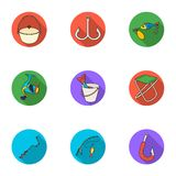 Summer and winter fishing, outdoor recreation, fishing, fish.Fishing icon in set collection on flat style vector symbol. Stock web illustration Royalty Free Stock Photo