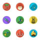 Summer and winter fishing, outdoor recreation, fishing, fish.Fishing icon in set collection on flat style vector symbol. Stock web illustration Royalty Free Stock Image