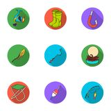 Summer and winter fishing, outdoor recreation, fishing, fish.Fishing icon in set collection on flat style vector symbol Royalty Free Stock Photo