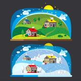 Summer and winter landscapes. Stock Photo