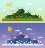 Summer and winter landscapes. Flat design nature summer and winter landscapes illustration with sun, hills, mountains, moon, clouds, snowfall and forest. Day and Royalty Free Stock Photography
