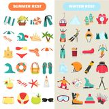 Summer and winter rest color flat icons set stock illustration