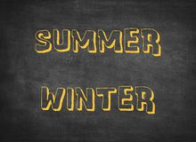 Summer winter seasons hot cold children letters stock photo