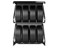 Summer and winter tires set for sale at a tire store, front viev Stock Photos