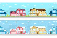 Summer and Winter town. Royalty Free Stock Photos