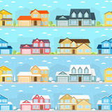 Summer and Winter town. Stock Photos