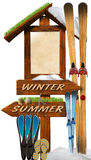 Summer Winter Wooden Signage Stock Photo