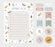Summer wish, to do list, colorful scrapbooking stickers, labels, tapes and gift tags. Cute stationery, planner template stock photo