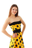 Summer woman beautiful yellow dress Royalty Free Stock Photography