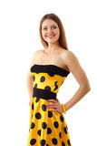 Summer woman beautiful yellow dress Stock Images