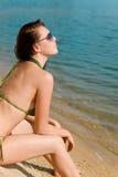 Summer woman in bikini alone on beach Stock Images