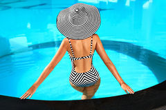 Summer Woman Body Care. Relaxation In Swimming Pool. Holidays Va Stock Photos
