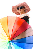 Summer woman color umbrella Royalty Free Stock Images