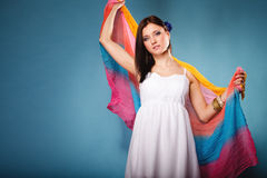 Summer woman with colored shawl on blue Royalty Free Stock Image