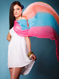 Summer woman with colored shawl on blue Stock Images