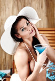 Summer woman with drink Royalty Free Stock Image