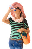 Summer woman drinking bottled water Royalty Free Stock Images