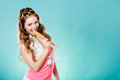 Summer woman eating popsicle ice pop cream Royalty Free Stock Photo