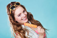 Summer woman eating popsicle ice pop cream Royalty Free Stock Images
