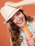 Summer woman eating popsicle ice pop cream Stock Images