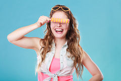 Summer woman eating popsicle ice pop cream Stock Photography