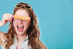 Summer woman eating popsicle ice pop cream Royalty Free Stock Photos