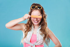 Summer woman eating popsicle ice pop cream Royalty Free Stock Image