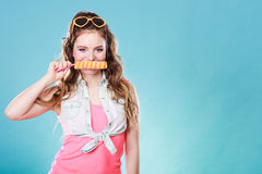 Summer woman eating popsicle ice pop cream Stock Photos