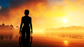 Summer Woman Epic Sunset Stock Image