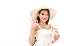 Summer woman giving ok hand gesture Royalty Free Stock Photo