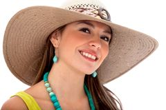 Summer woman with a hat Royalty Free Stock Photography