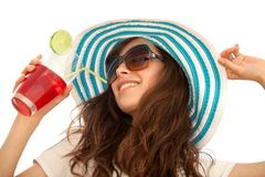 Summer woman with hat and a drink Stock Photography