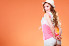 Summer woman holding ice cream behind her back Royalty Free Stock Photos