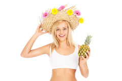 Summer woman with pineapple Royalty Free Stock Photos