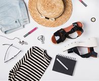 Summer woman`s trendy outfit Stock Image