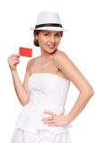 Summer woman showing credit card with copy space Stock Photography