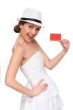 Summer woman showing credit card with copy space Stock Photo