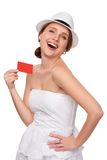 Summer woman showing credit card with copy space Stock Photos