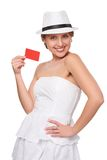 Summer woman showing credit card with copy space Stock Images