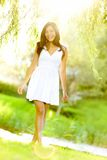 Summer woman in summer dress Stock Images