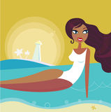 Summer woman sun tanning on beach - Retro stock illustration