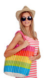 Summer woman with sunglasses shopping Royalty Free Stock Images